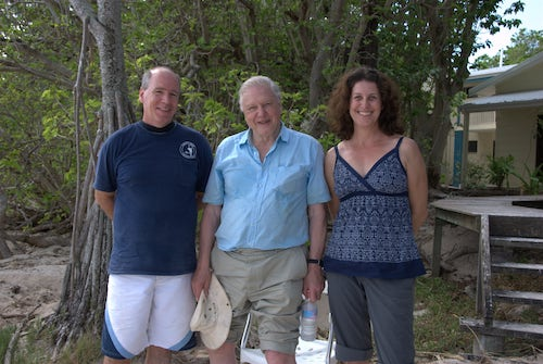 Professors Bernie and Sandie Degnan with Sir David Attenborough on Australia's Heron Island.