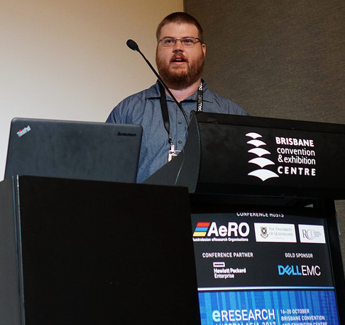 Michael Mallon speaking at eResearch Australasia 2017