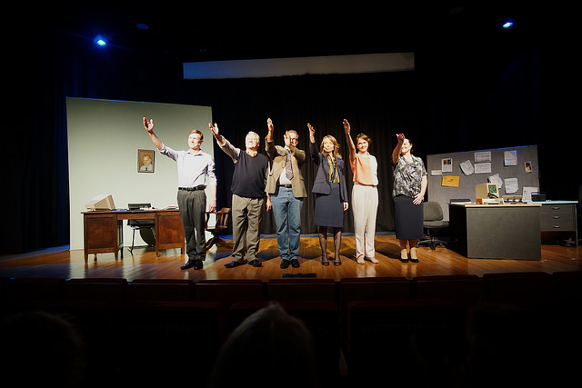 The cast of play Purely Academic